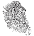Hand drawn graphic ornate head of lion with ethnic vector image
