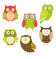 set of christmas owls set of christmas owls vector image