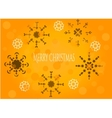 Snowflakes on orange background vector image