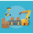 packing box automated robotic production line vector image