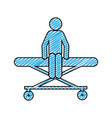 color pencil drawing of pictogram patient sit in vector image