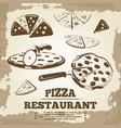 vintage pizza elements for cafe restaurant bar vector image