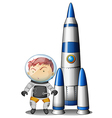 A boy beside the rocket vector image