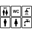set of wc icons with shower and tap vector image
