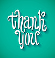 thank you handwritten text with shadow on striped vector image