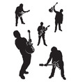 guitar player silhouette set vector image