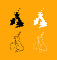 map of united kingdom set black and white icon vector image