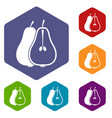 pear icons set vector image