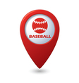 Red map pointer with baseball icon vector image