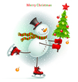 Smiling snowman with Christmas tree vector image