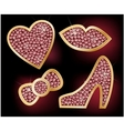Icons a heart lips a bow the shoes decorated with vector image
