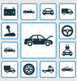 automobile icons set collection of plug truck vector image