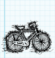 sketch drawing of bicycle on graph paper vector image vector image