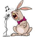 singing rabbit cartoon vector image vector image