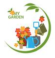 gardening emblem vector image vector image