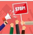 Cartoon hands of demonstrants hand with Megaphone vector image