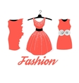 Fashionable red dress vector image