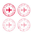 air mail post service red faded round stamp vector image