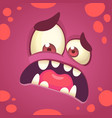 cartoon angry monster face halloween vector image