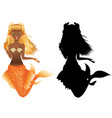 gold fish tail mermaid vector image