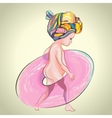 Little girl with pink swim ring vector image