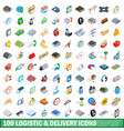 100 logistic delivery icons set isometric style vector image