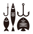 fishing hooks and fishes vector image