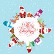 Merry christmas with santa claus snowman christmas vector image