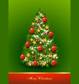 Christmas tree decorated with balls and stars on vector image