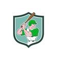 Baseball Player Batting Stance Shield Cartoon vector image
