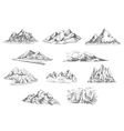 Mountain landscapes sketches for nature design vector image vector image