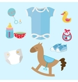 baby stuff and toys icon set collection romper vector image