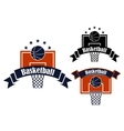 Basketball sporting symbols with sport items vector image
