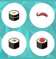 flat icon sashimi set of salmon rolls japanese vector image