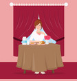 girl have breakfast with bread and tea on table vector image