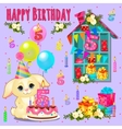 Happy birthday card with cute pet and toys vector image
