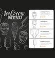 ice cream menu with prices - desserts blackboard vector image