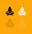 man yoga stick set black and white icon vector image
