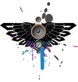 music with wing and blot vector image