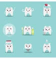 Set of cute cartoon teeth with brush and clean vector image