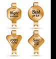 Set of gold banner with ribbon Labels Tags Retro vector image