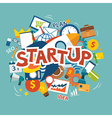 startup new business project with rocket vector image