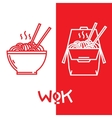Wok noodles graphic vector image