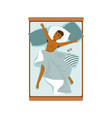 young african man sleeping in his bed relaxing vector image