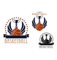 Basketball sporting emblems with game items vector image