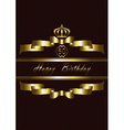 Crown over the Gold ribbons and Happy Birthday vector image