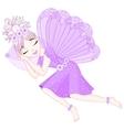 Cute fairy in violet dress with wings is sleeping vector image