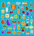 big set of kawaii character funny cartoon food vector image