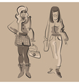 Fashion women in stylish clothes vector image