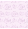 Seamless pattern with outline decorative seashells vector image